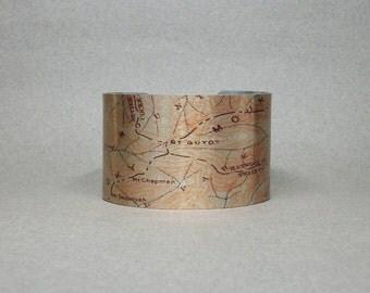 Mount Guyot Great Smoky Mountain National Park Map Appalachian Trail Cuff Bracelet Gift for Men or Women