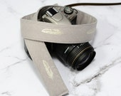 dSLR Camera Strap - Women's Accessories - Camera Strap - Silver Metallic Feathers on Taupe  - gift ideas under 30 - Gift for Photographers