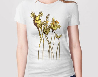 Retro Video Game Shirt, Surrealism Shirt, Dali Chocobos Shirt, Retro Gamer Shirt, Retro Gaming Shirt, Gift for Gamer Tshirt, Art History Tee
