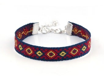 Ribbon Bracelet with Lobster Clasp Extender Chain Closure Bohemian Style Ideal Base to Add Charms - N269
