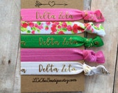 Boutique Elastic Hair Ties Delta Zeta Pink Green Gold 5 pack - awesome gift