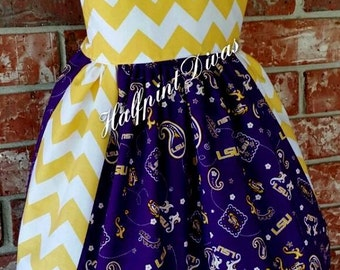 Girls LSU & Chevron Dress