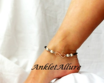 New Love Times Infinity Anklet Rose Gold Ankle Bracelet Pearl Bridal Jewelry Black Anklet Garter Ceremony
