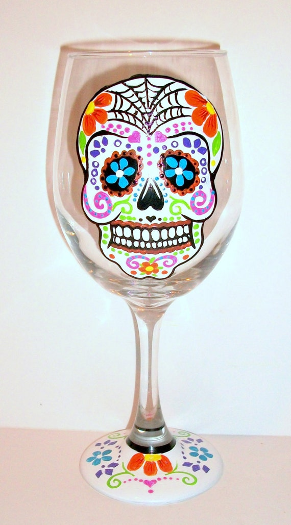 Sugar Skull Day Of The Dead Hand Painted Wine Glass 1 Glass