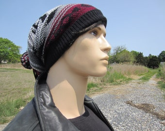 Tribal Knit Print Slouchy Beanies Men's Warm Winter Hat Gray Black Burgundy Fair Isle Print Baggy Leather Tie Back Stocking Cap A1580