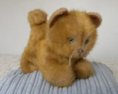 Vintage Toy Cat - Real Soft Toys - Ginger Kitten - 9.5 inch Toy Kitten - 1970's Toy