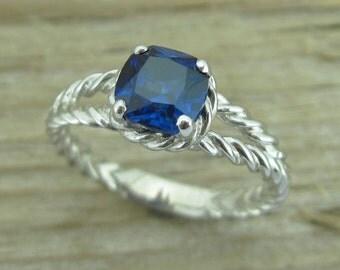 Sapphire Engagement Ring, Cushion Sapphire Braided Rope Engagement Ring, Cushion Engagement Ring, Gold Twisted Rope Engagement Ring,