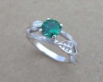 Twig Emerald Engagement Ring, Leaves Emerald Engagement Ring, Twig Ring, Antique Engagement Ring, Vintage Bark Ring, Natural Engagement Ring