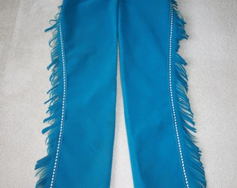 Vintage Western Chaps By Chap Parel Gerald Roberts Aqua Fringe Motorcycle Biker Rodeo Cowgirl Equestrian Riding Faux Suede Halloween Costume