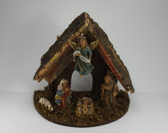 Vintage Christmas Nativity Creche Manger Set Wood Stable Made In Italy Italian One Piece
