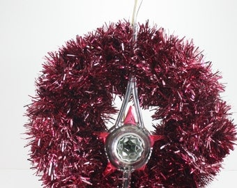 Vintage Christmas Wreath Bradford Star Tree Topper Red Pink Tinsel Wreath Hand Crafted Hand Made Shabby Cottage Style Wreath OOAK