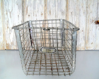 Vintage Locker Basket, Antique Wire Basket, Vintage Gym Basket, Swim Basket