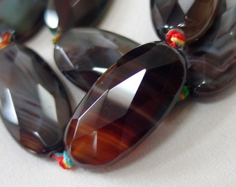 30mm Faceted Oval Stone Beads, Brown Black, Amber, Blue Gray, Agate, 30mm x 18mm, full strand, knotted 16""