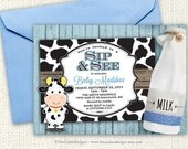 Sip and see invitation - Farm Animals - Boy - Girl - Cow - Printable