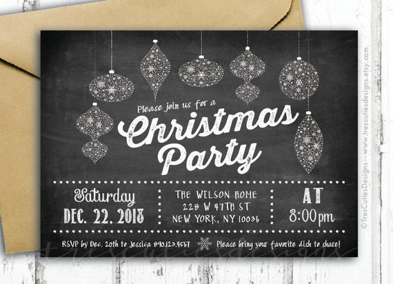 black and white chalkboard christmas invitations