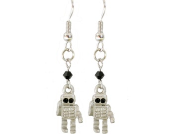 Silver Robot Earrings - Sci Fi Theme Earrings - Kawaii cute robotics jewelry
