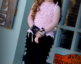 Baby Girls Clothing Set,Ruffled Pink Top,Lace Black Knickers,Black Lace Headband with Vintage Pink,Lace Cameo Cuffs,Birthday,Photo Shoot
