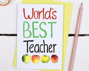 Teacher Thank You Card -  World's Best Teacher Card - Card for Teachers