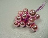 Pink Vintage Mercury Glass Ball Ornaments Wired Picks for Christmas Decorations Crafts Bunch of 12 NOS