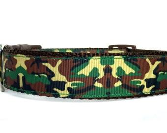 Camo Dog Collar / Camouflage Dog Collar / Green Brown Dog Collar / Nylon Webbing Dog Collar / Boy Dog Collar / fall dog collar