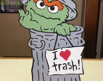Sesame Street Oscar the Grouch I Love Trash Decoration Stand Up, standee, Sesame Street Party Prop
