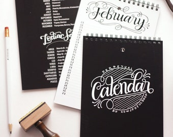 Perpetual calendar - Birthday calendar - Hand lettered calendar