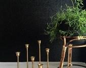 set of solid brass tulip candle holder votives // set of 7 // hollywood regency