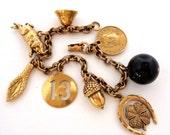 Vintage Signed Coro Charm Bracelet Antique Gold Tone
