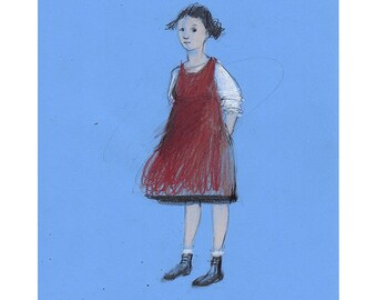 Girl drawing illustration original art figurative people child blue red