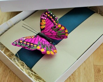 Pink, Green and Black Wedding Butterfly Pocketfold Boxed Invitation Suite