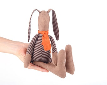 Baby stuffed bunny doll, Brown SMALL rabbit ,in dark striped shirt & Rusty orange scarf -Timohandmade eco fabric bunny gift for boy and girl