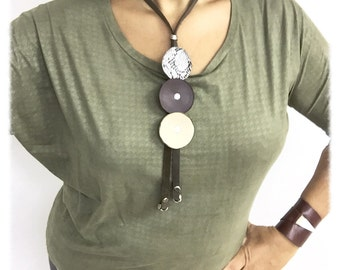 contemporary necklace, Lariat necklace, leather necklace, long leather necklace, brown leather necklace, round necklace, Button Necklace