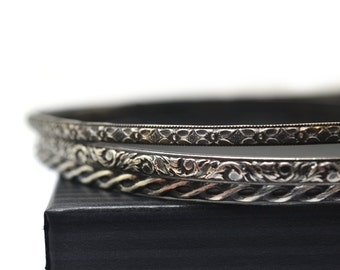 Sterling Silver Stacking Bangles, Set of Three, Patterned Silver Bangles, Celtic Pattern, Victorian Style Bangle, Renaissance Style Jewelry