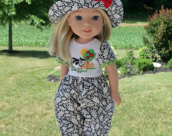 Wellie Wisher Romper and Hat/  Clothes for American Girl Wellie Wishers (R)