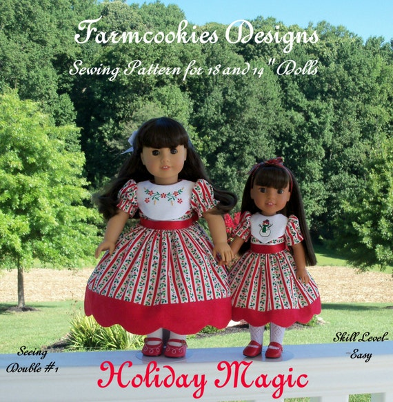 "PRINTED Sewing Pattern: Holiday Magic/ Sewing Pattern for BOTH 18"" American Girl  and 14"" Wellie Wishers®."