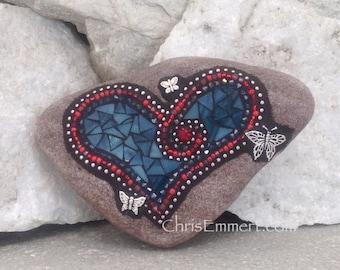 Mosaic Heart, Mosaic Rock, Mosaic Garden Stone, Teal, Red, Butterflies, Home Decor, Gardening, Gardening Gift,