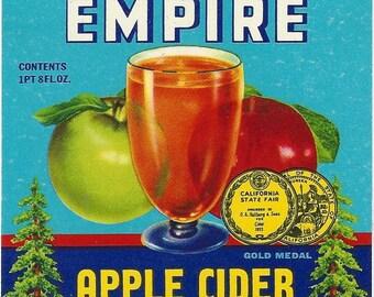Redwood Empire Apple Cider Vintage Bottle Label, 1950s