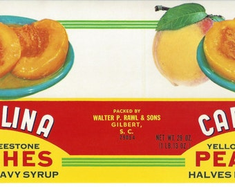 Carolina Peaches Vintage Can Label, 1950s