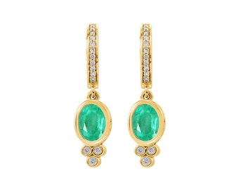 2.10Cts Bezel Set Emerald & Diamond Dangle Gold Earrings, Emerald Diamond Dangle Earrings 14K, Natural Emerald Gold Earrings, Hinged Hoop