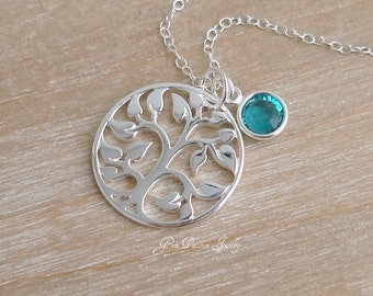 Tree of Life Necklace Sterling Silver Tree, Swarovski Birthstone - Personalized Family Necklace, 1-8 Crystals - Mothers Day - Valentine Gift