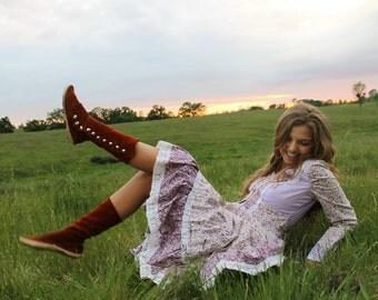 FERN Vintage 1970's Calico Prairie Dress Floral Peplum Lace Up Bodice Boho Gunne Sax Style