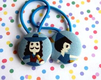 SALE! pair kawaii Peter Pan fabric button Ponytail Holders hair bobbles ties