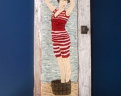 RESERVED for sslori Vintage Bathing Beauty Hand Hooked Rug Wall Art
