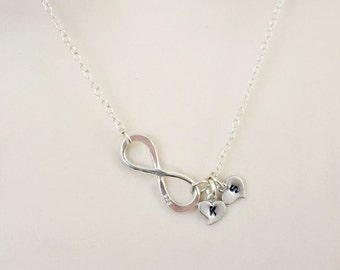2 Initial Necklace, Infinity Necklace, Personalized Womens, Mothers necklace, Sister Necklace, Best friend necklace, Friendship Necklace,
