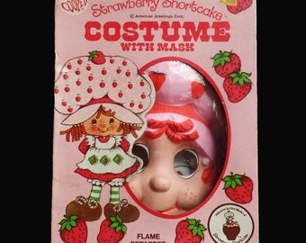 Vintage Strawberry Shortcake Costume childs  girls 3-5 Ben Cooper 1980