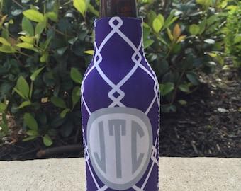 LINKED personalized monogram bottle beverage insulator - zippered back for longnecks - weddings, bachelorette, parties, beaches