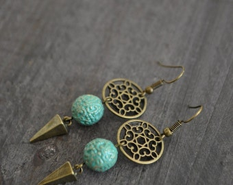 Boucles d'oreilles mint - Mint earrings - Bohemian jewelry - Dreamcatcher earrings - Vintage inspired jewelry - Coco Matcha