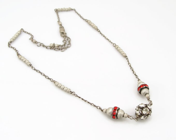 Sterling Silver Disco Ball Red Rhinestone Necklace
