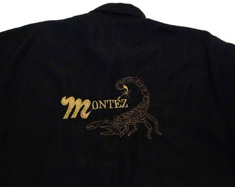 Scorpion Shirt Vintage Metallic Gold Scorpio Camp Shirt Rockabilly Black Embroidered Montez Shirt Medium Large Zodiac Mexico Mexican 1990s