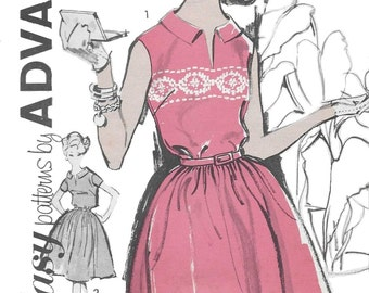 Advance 2831 Women's 60s Collared Full Skirted Pull Over Dress Sewing Pattern Size 10 and 12 Bust 31 to 32